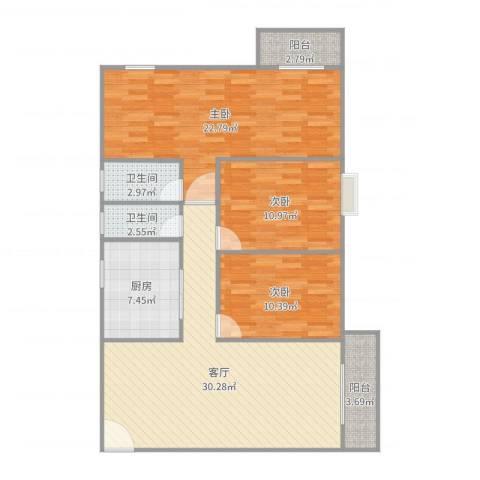 人才楼3室1厅2卫1厨117.00㎡户型图