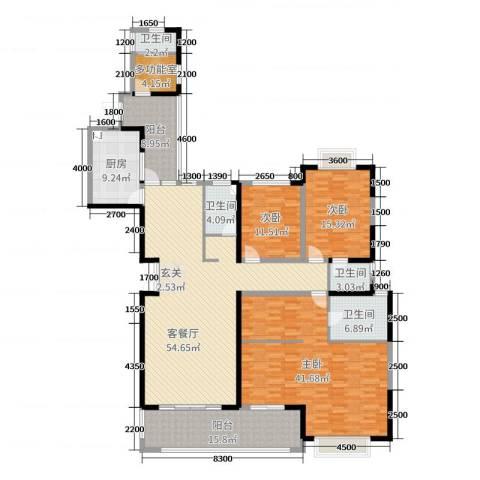 中建江山壹号3室2厅4卫1厨232.00㎡户型图