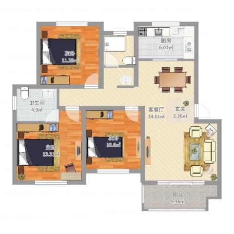 万厦・四季华廷3室2厅1卫1厨107.00㎡户型图