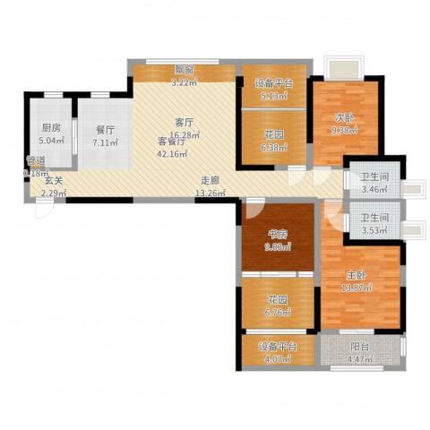 嘉德・水韵金阁3室2厅2卫1厨142.00㎡户型图