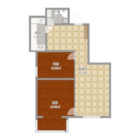 兆丰园一区(秀蝶双座)2室2厅1卫1厨92.00㎡户型图