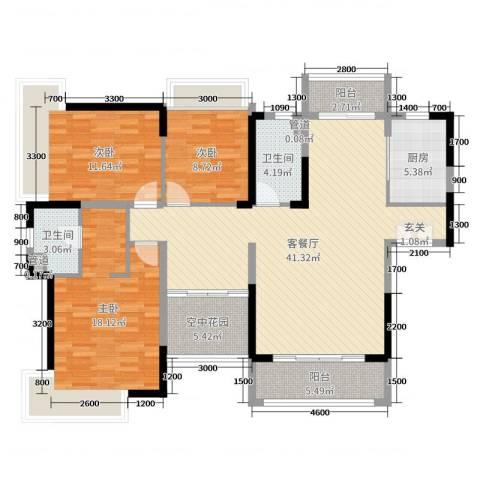 广铝荔富湖畔3室2厅2卫1厨147.00㎡户型图