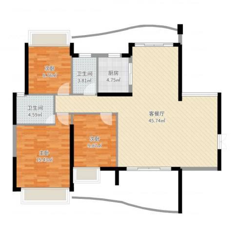 顺宝天誉花园3室2厅2卫1厨116.00㎡户型图