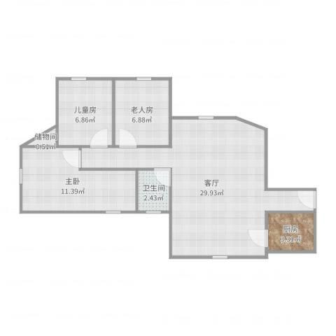 荔湾广场3室1厅1卫1厨77.00㎡户型图