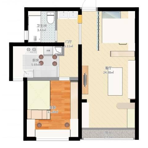 中科苑1室1厅1卫1厨65.00㎡户型图
