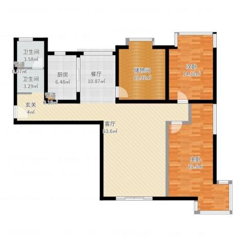 卓达星辰花园2室1厅1卫1厨143.00㎡户型图