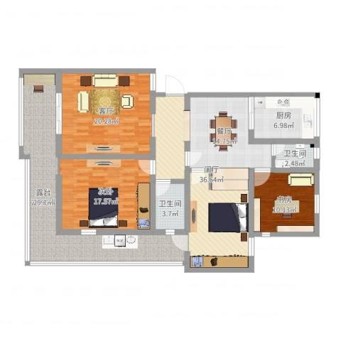 金贸新寓3室1厅2卫1厨153.00㎡户型图