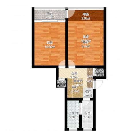 采荷路14号2室2厅1卫1厨60.00㎡户型图