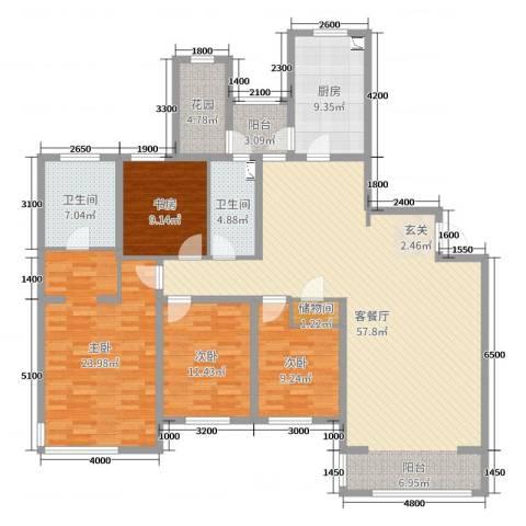 仁恒湖滨城4室2厅2卫1厨208.00㎡户型图
