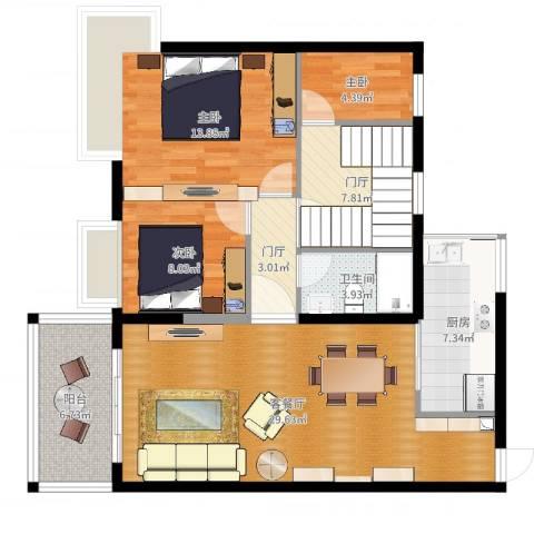 景新国际名城3室2厅1卫1厨106.00㎡户型图