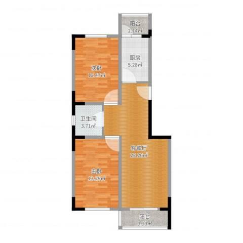 观音寺北里2室2厅1卫1厨79.00㎡户型图