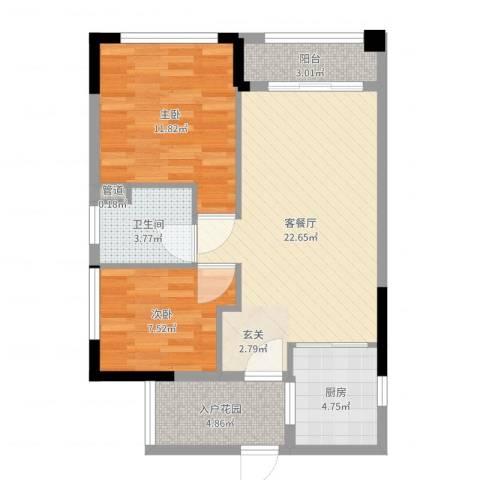 翡翠绿洲龙翔台2室2厅1卫1厨73.00㎡户型图