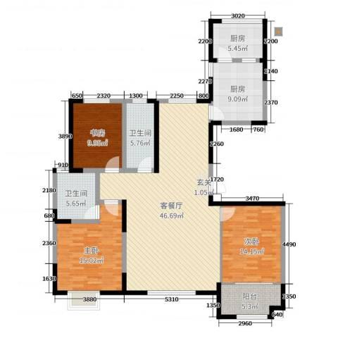 高新城市广场3室2厅2卫2厨168.00㎡户型图