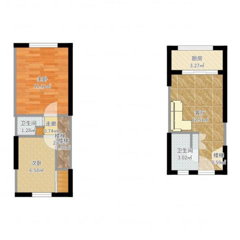 泾渭明珠2室1厅2卫1厨52.00㎡户型图
