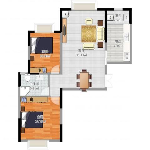 悦海世家2室1厅1卫1厨90.00㎡户型图