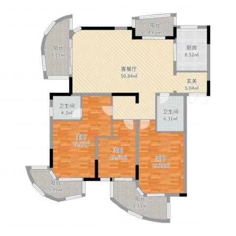 香湖郡3室2厅2卫1厨189.00㎡户型图