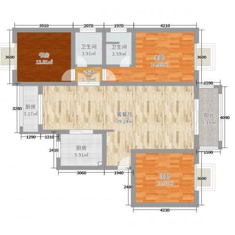 新顾村大家园3室2厅2卫2厨129.00㎡户型图