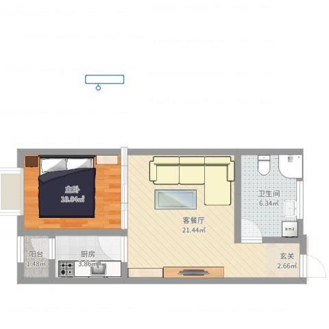 蓝光星华海悦城1室2厅1卫1厨54.00㎡户型图