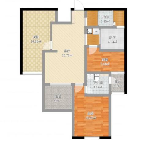 保利叶上海3室1厅2卫1厨99.00㎡户型图