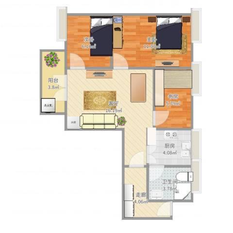 富力半岛花园3室1厅1卫1厨69.00㎡户型图