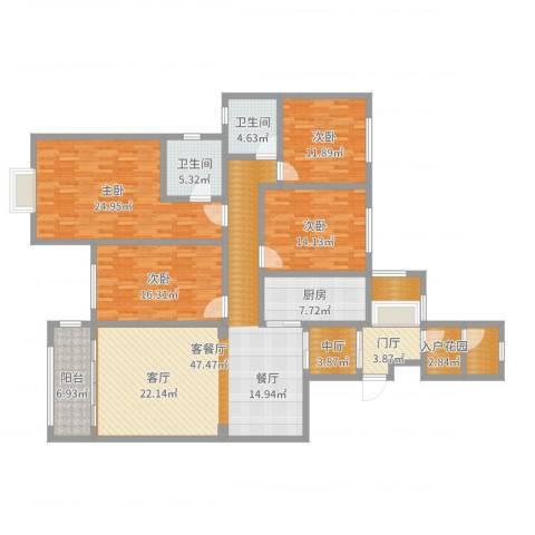 万佳裕园4室2厅2卫1厨195.00㎡户型图