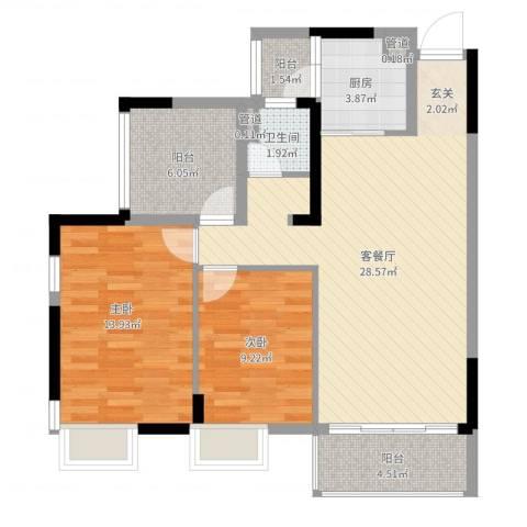 富盈都市华府2室2厅1卫1厨87.00㎡户型图
