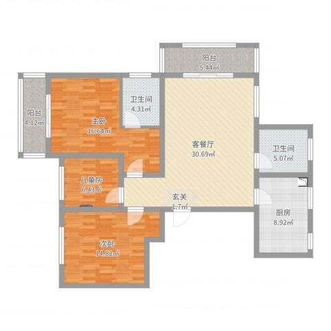华峰栋盛苑3室2厅2卫1厨121.00㎡户型图