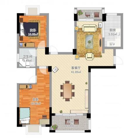水澜山二期2室2厅1卫1厨108.00㎡户型图