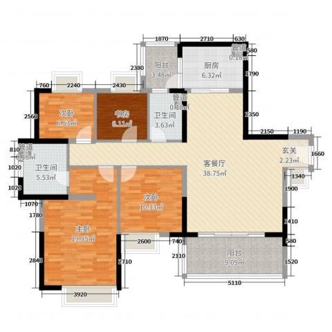 丽江如英居4室2厅2卫1厨138.00㎡户型图