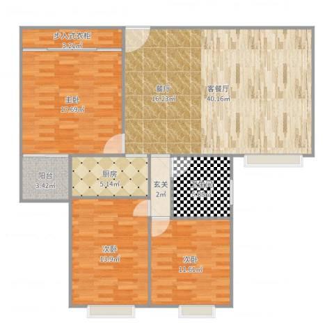 东盛公寓3室2厅1卫1厨129.00㎡户型图