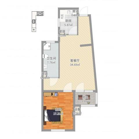 东方太阳城明湖园1室2厅1卫1厨88.00㎡户型图