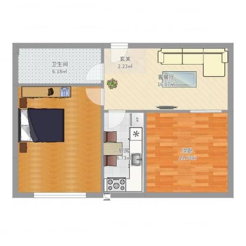 豪润锦华苑1室2厅1卫1厨77.00㎡户型图