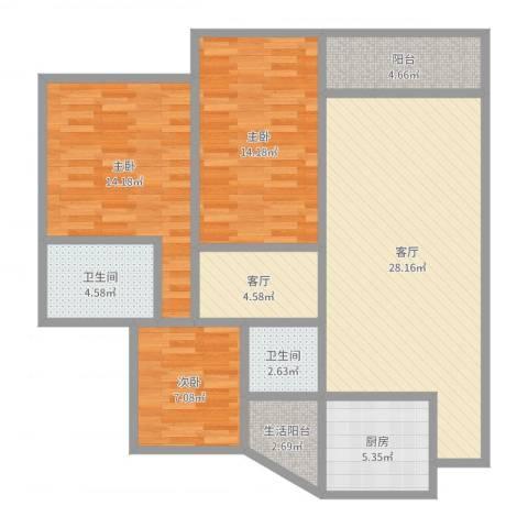 阳光南滨3室2厅2卫1厨110.00㎡户型图