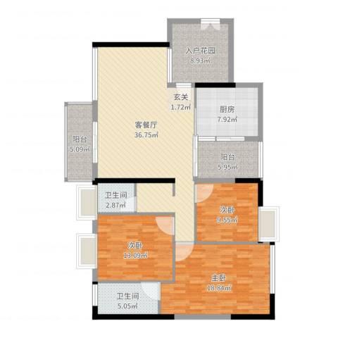 罗浮山岭南雅苑3室2厅2卫1厨143.00㎡户型图