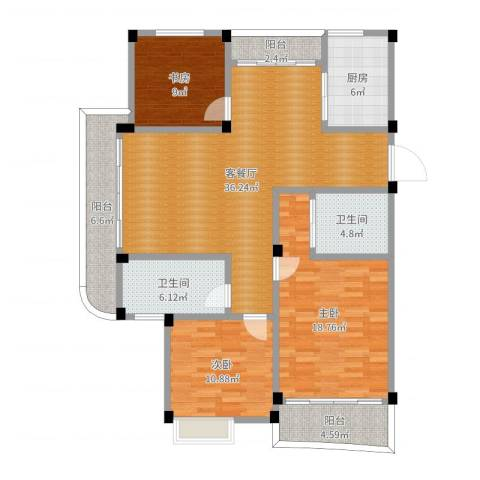 万泰水晶城3室2厅2卫1厨132.00㎡户型图