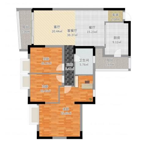银信花园3室2厅1卫1厨138.00㎡户型图