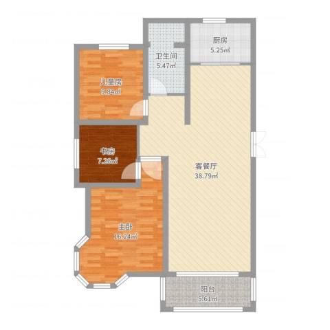 苏商御景湾3室2厅1卫1厨111.00㎡户型图