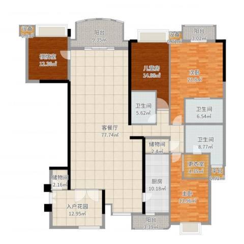 华明园3室2厅3卫1厨268.00㎡户型图
