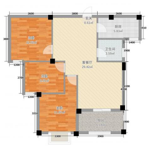 日出东辉3室2厅1卫1厨91.00㎡户型图