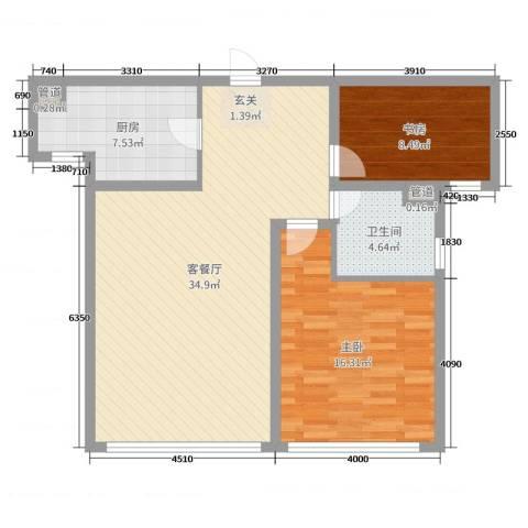 加州・阳光城2室2厅1卫1厨89.00㎡户型图
