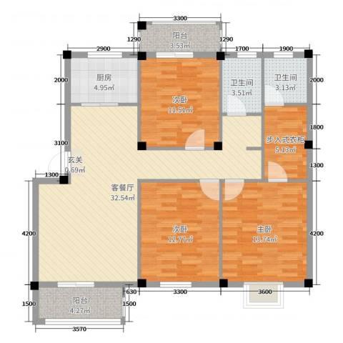 日出东辉3室2厅2卫1厨117.00㎡户型图