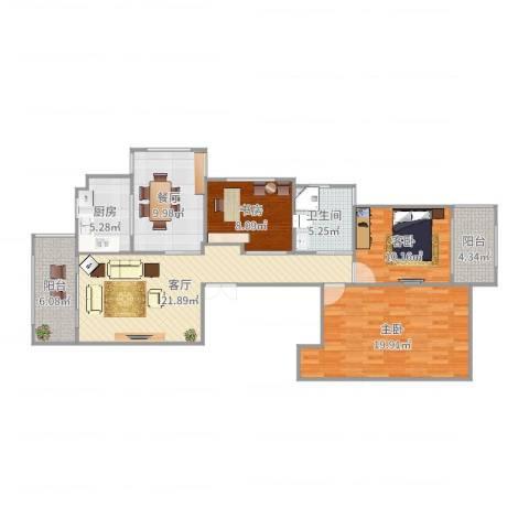 时代尊品3室2厅1卫1厨114.00㎡户型图