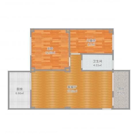 田美小区2室2厅1卫1厨82.00㎡户型图