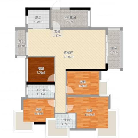 海逸华庭4室2厅2卫1厨130.00㎡户型图