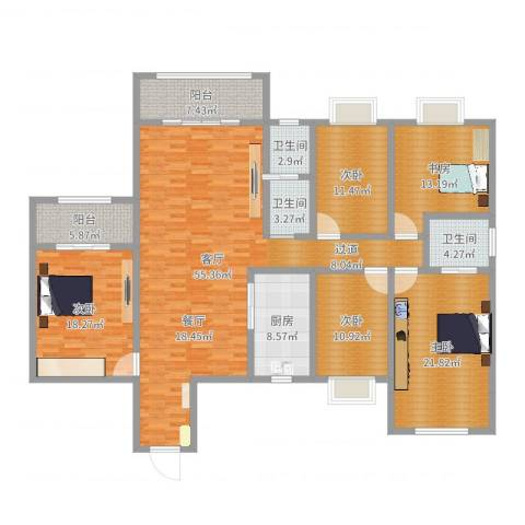 天一康园5室1厅3卫1厨204.00㎡户型图