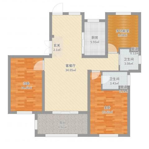 宝华家天下2室2厅2卫1厨118.00㎡户型图
