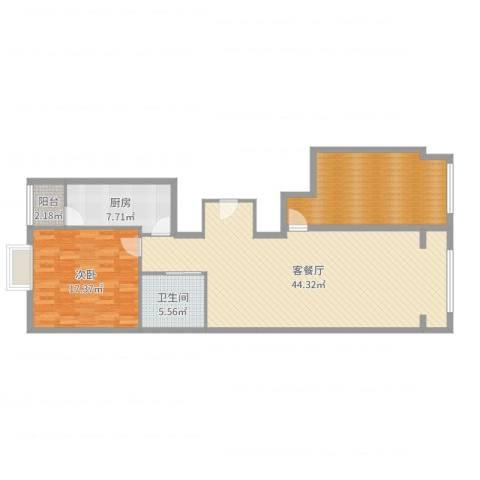 五星国际城1室2厅1卫1厨118.00㎡户型图