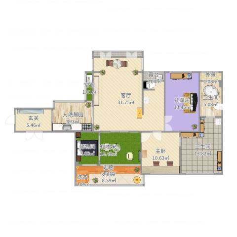 建大领秀城2室1厅2卫1厨144.00㎡户型图