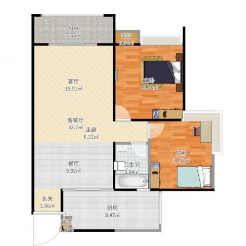 园丁梦苑2室2厅1卫1厨97.00㎡户型图