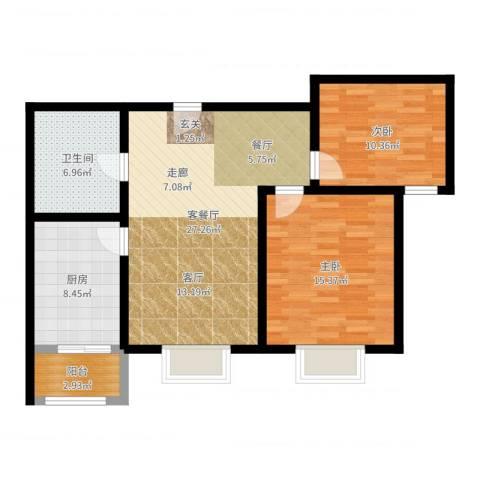 中铁四季公馆2室2厅1卫1厨89.00㎡户型图